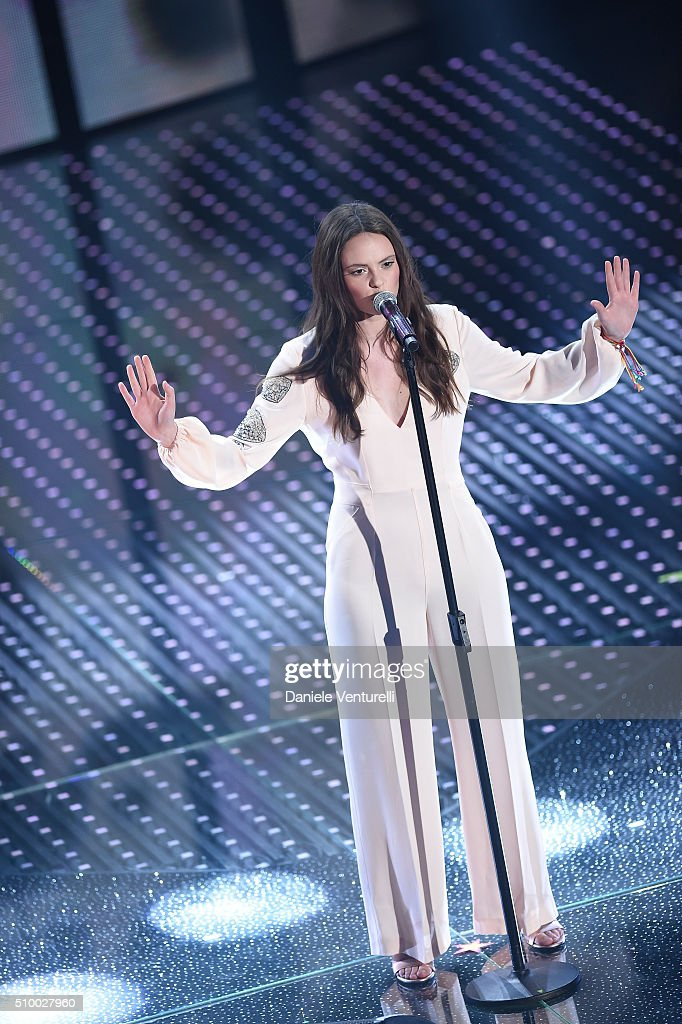 <a gi-track='captionPersonalityLinkClicked' href=/galleries/search?phrase=Francesca+Michielin&family=editorial&specificpeople=8914919 ng-click='$event.stopPropagation()'>Francesca Michielin</a> attends the closing night of 66th Festival di Sanremo 2016 at Teatro Ariston on February 13, 2016 in Sanremo, Italy.