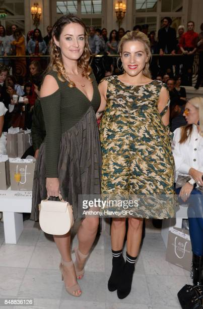 Francesca NewmanYoung and Olivia Cox attend the Paul Costelloe show during London Fashion Week September 2017 on September 18 2017 in London England