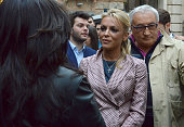 Francesca Pascale girlfriend of Forza Italia president Silvio Berlusconi visits Salerno with Berlusconi in support of the reelection campaign of...