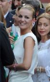 Francesca Pascale the girlfriend of former Italian prime minister Silvio Berlusconi and leader of People of freedom political party attends in front...