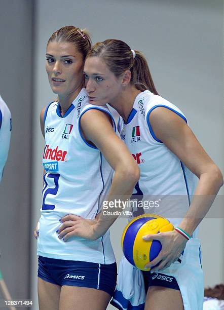 Francesca Piccinini and Valentina Arrighetti of Italy during the women Volleyball European Championship match between Italy and Turkey on September...