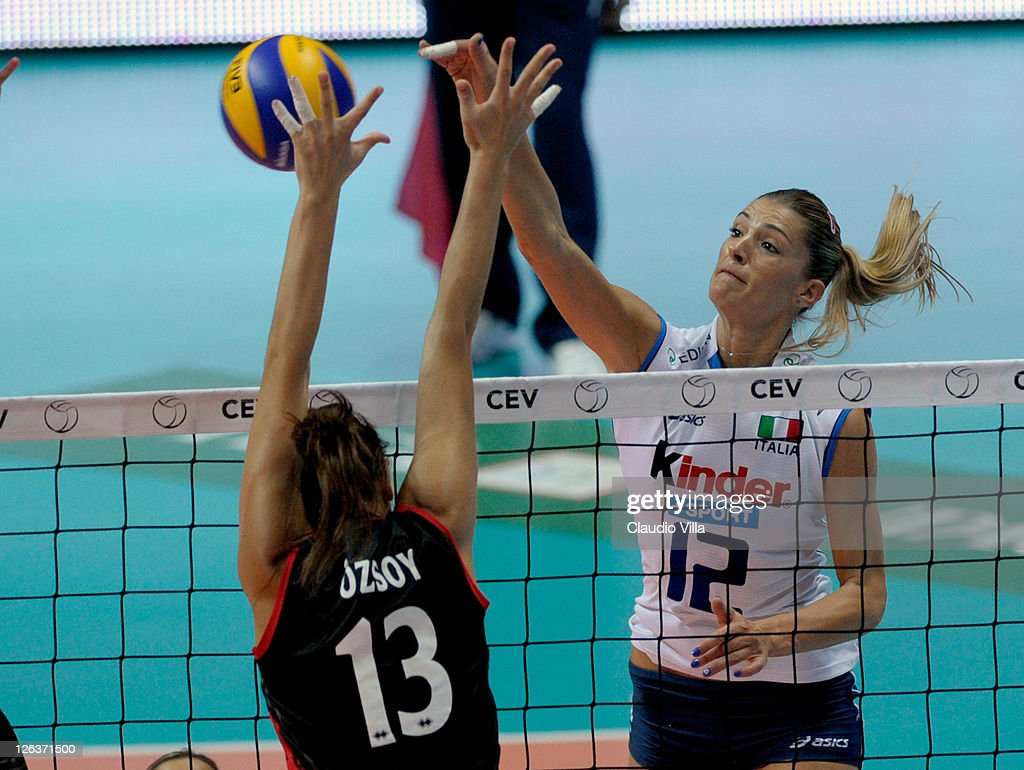 Francesca Piccinini of Italy and Neriman Ozsoy of Turkey during the women Volleyball European Championship match between Italy and Turkey on...