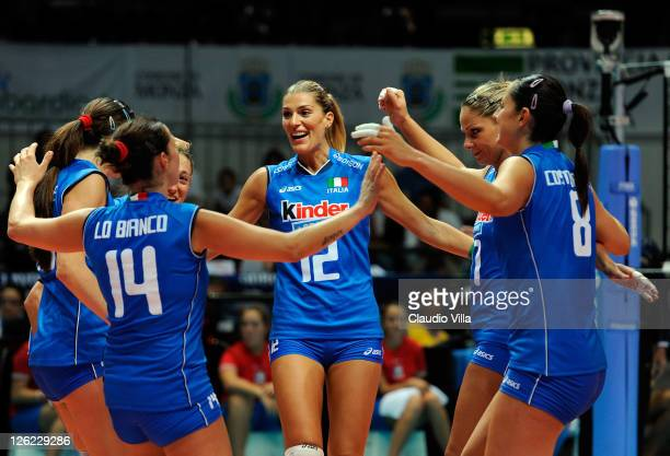 Francesca Piccinini of Italy celebrates during the women Volleyball European Championship match between Italy and Croatia on September 23 2011 in...