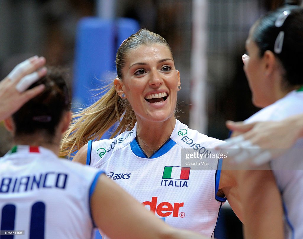 Francesca Piccinini of Italy celebrates during the women Volleyball European Championship match between Italy and Turkey on September 25 2011 in...