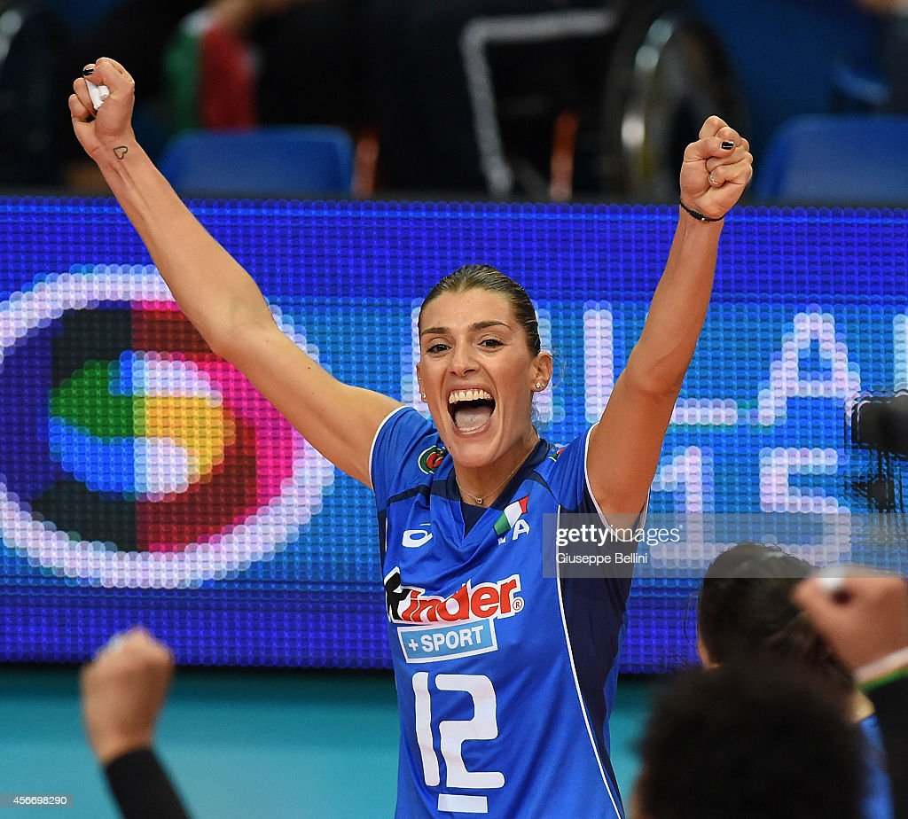 Francesca Piccinini of Italy celebrates the victory after the FIVB Women's World Championship pool E match between Italy and China on October 5 2014...