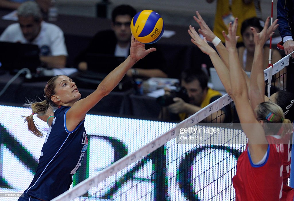 Francesca Piccinini of Italy during the Women Volleyball European Championship match between Italy and Azerbaijan on September 24 2011 in Monza Italy