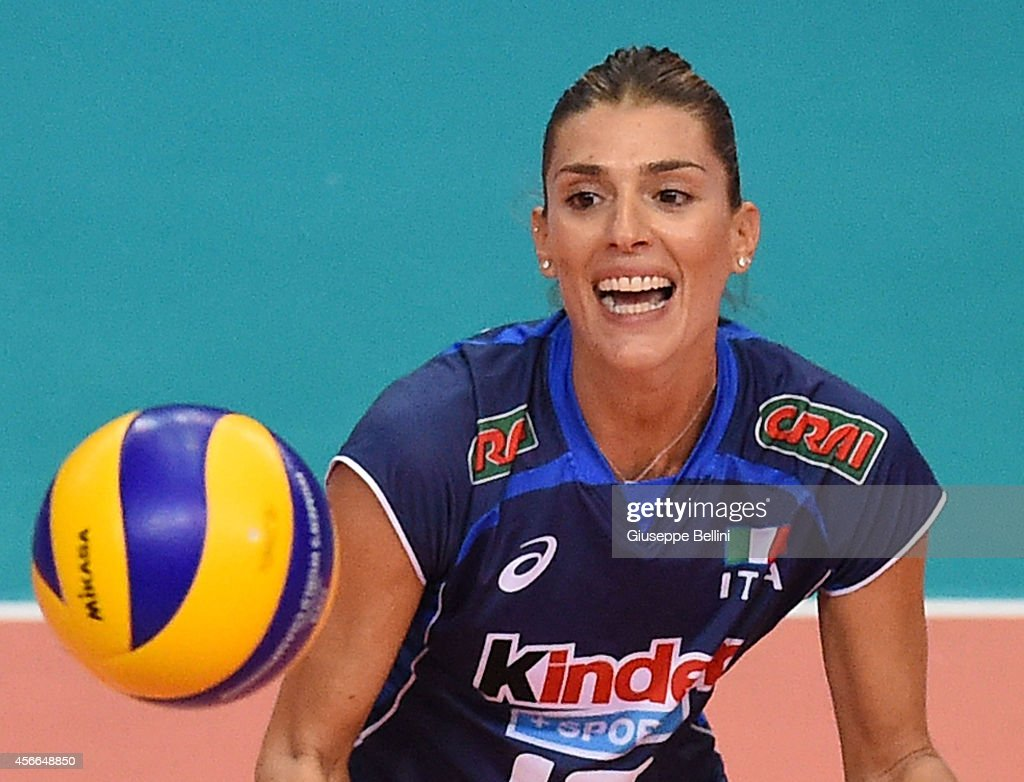Francesca Piccinini of Italy in action during the FIVB Women's World Championship pool E match between Italy and Japan on October 4 2014 in Bari Italy