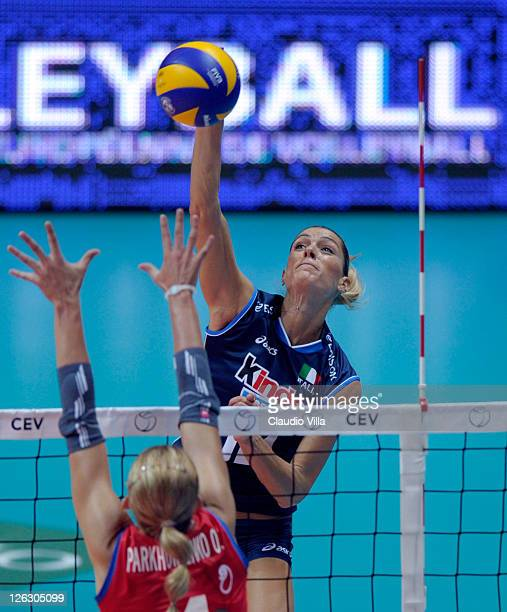 Francesca Piccinini of Italy in action during the Women Volleyball European Championship match between Italy and Azerbaijan on September 24 2011 in...