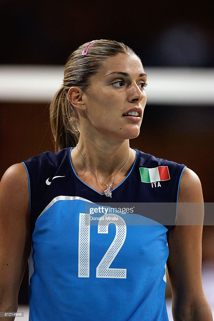 Francesca Piccinini of Italy looks on during her team's 32 loss to Cuba in the women's indoor Volleyball quarterfinal match on August 24 2004 during...