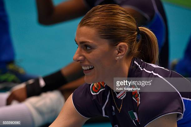 Francesca Piccinini of Italy looks on during the Women's World Olympic Qualification game between Italy and Kazakhstan at Tokyo Metropolitan...