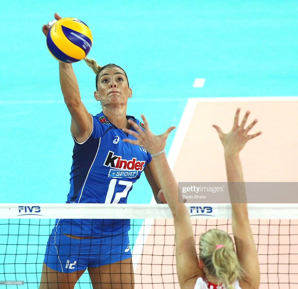 Francesca Piccinini of Italy spikes the ball during the FIVB Women's World Championship pool A match between Croatia and Italy on September 24 2014...