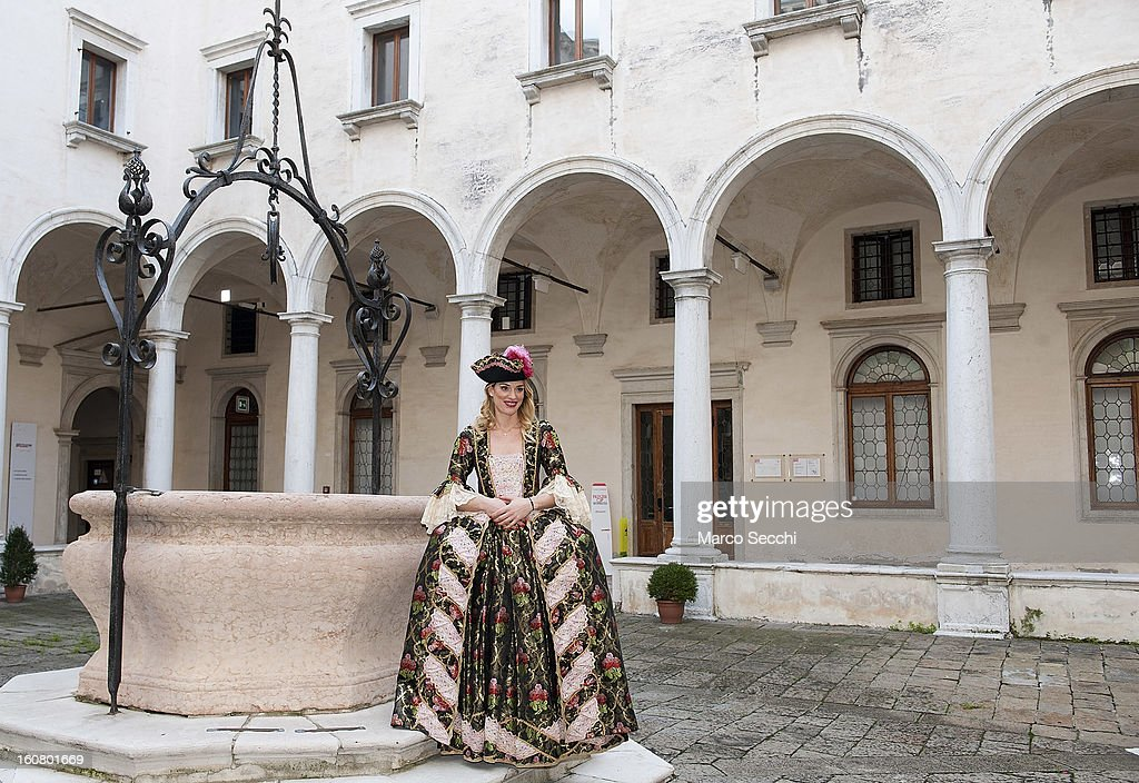 Francesca Piccinini, Olympic volleyball player for Italy, wearing a 1700 dress from Atelier Pietro Longhi at a press conference where she announced that she will take part in Sunday 'Volo dell'Aquila' on February 6, 2013 in Venice, Italy. The 2013 Carnival of Venice which runs from January 26 to February 12 and includes a program of gala dinners, parades, dances, masked balls and music events.