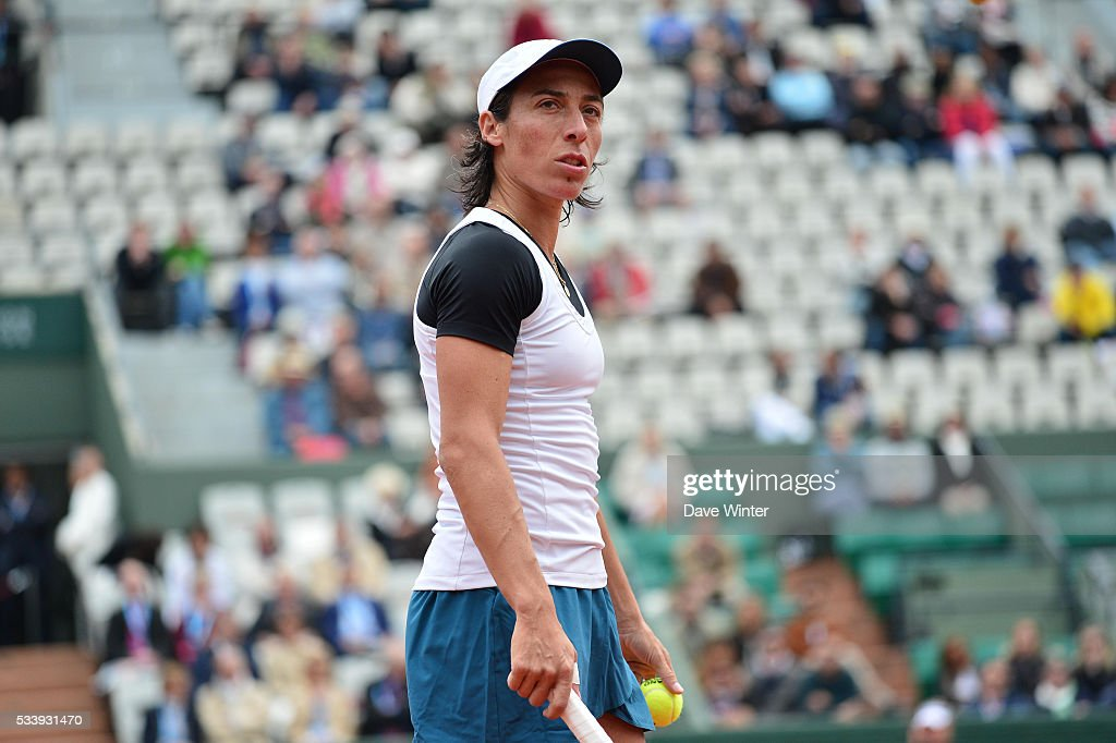 Francesca Schiavone during the Women's Singles first round on day three of the French Open 2016 at Roland Garros on May 24, 2016 in Paris, France.