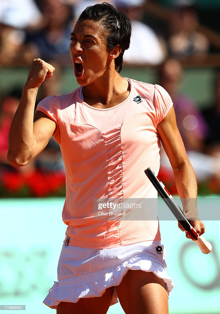 Francesca Schiavone of Italy celebrates a point during the women's singles semi final match between Marion Bartoli of France and Francesca Schiavone of Italy on day twelve of the French Open at Roland Garros on June 2, 2011 in Paris, France.