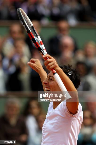 Francesca Schiavone of Italy celebrates matchpoint during the women's singles quarterfinal match between Anastasia Pavlyuchenkova of Russia and...