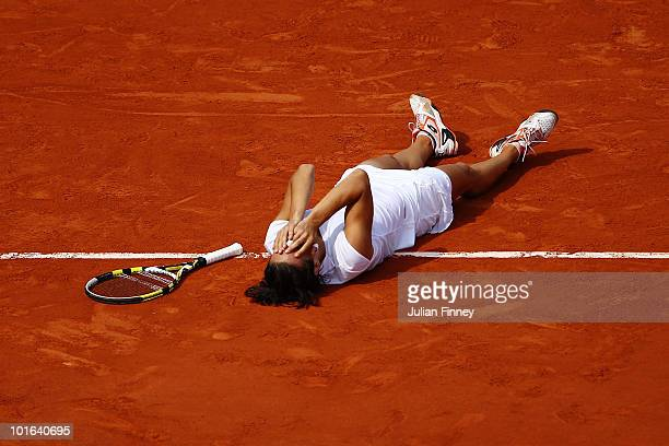 Francesca Schiavone of Italy celebrates winning championship point during women's singles final match between Francesca Schiavone of Italy and...