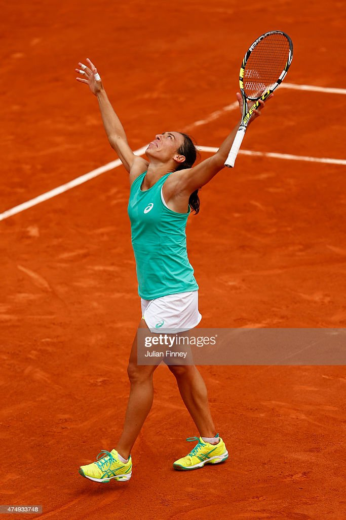 Francesca Schiavone of Italy celerates match point in her Women's Singles match against Svetlana Kuznetsova of Russia on day five of the 2015 French Open at Roland Garros on May 28, 2015 in Paris, France.