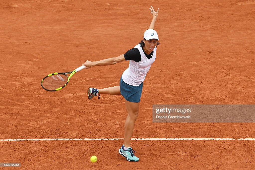 <a gi-track='captionPersonalityLinkClicked' href=/galleries/search?phrase=Francesca+Schiavone&family=editorial&specificpeople=171396 ng-click='$event.stopPropagation()'>Francesca Schiavone</a> of Italy hits a backhand during the Ladies Singles first round match against Kristina Mladenovic of France on day three of the 2016 French Open at Roland Garros on May 24, 2016 in Paris, France.