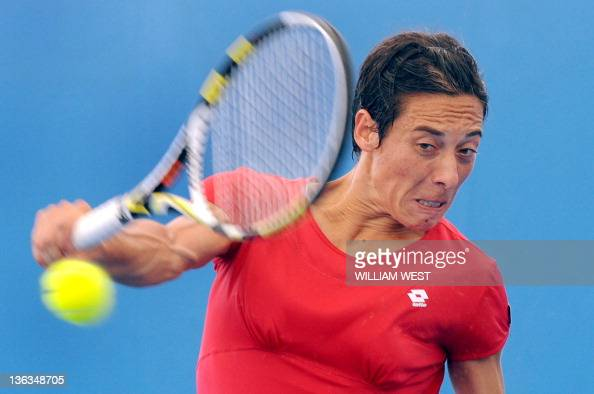 Francesca Schiavone of Italy hits a backhand return during her second round match against Galina Voskoboeva of Kazakhstan at the Brisbane...