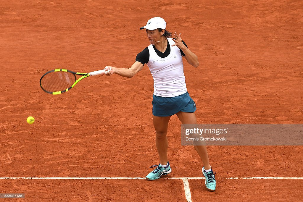 <a gi-track='captionPersonalityLinkClicked' href=/galleries/search?phrase=Francesca+Schiavone&family=editorial&specificpeople=171396 ng-click='$event.stopPropagation()'>Francesca Schiavone</a> of Italy hits a forehand during the Ladies Singles first round match against Kristina Mladenovic of France on day three of the 2016 French Open at Roland Garros on May 24, 2016 in Paris, France.