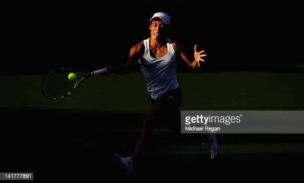 Francesca Schiavone of Italy in action during her match against Ksenia Pervak of Kazakhstan during day 5 of the Sony Ericsson Open at Crandon Park...