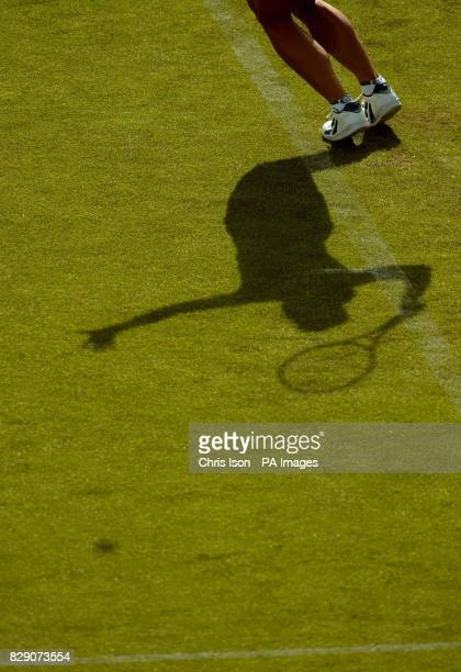 Francesca Schiavone of Italy in action on centre court at the Hastings Direct International Championships in Eastbourne West Sussex where she was...