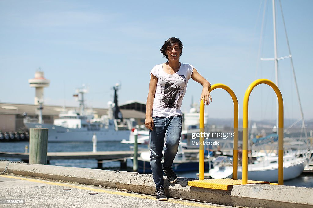 Francesca Schiavone of Italy poses on a visit to Constitution Dock during day two of the Hobart International at Domain Tennis Centre on January 5, 2013 in Hobart, Australia.
