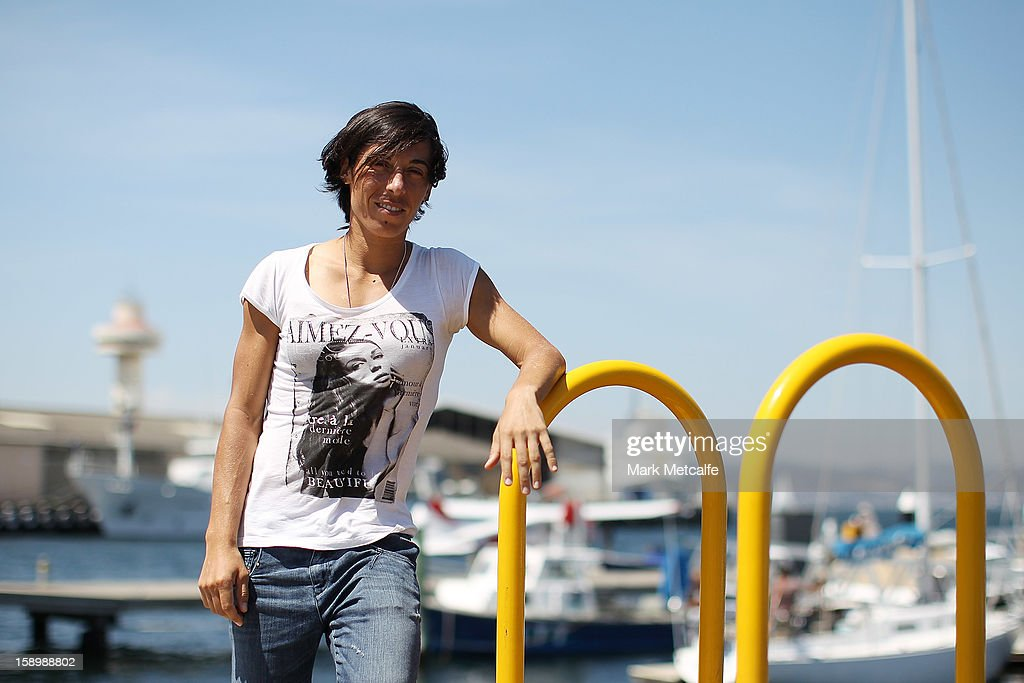<a gi-track='captionPersonalityLinkClicked' href=/galleries/search?phrase=Francesca+Schiavone&family=editorial&specificpeople=171396 ng-click='$event.stopPropagation()'>Francesca Schiavone</a> of Italy poses on a visit to Constitution Dock during day two of the Hobart International at Domain Tennis Centre on January 5, 2013 in Hobart, Australia.