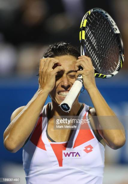Francesca Schiavone of Italy reacts after losing a point in her first round match against Kirsten Flipkens of Belgium during day four of the Hobart...