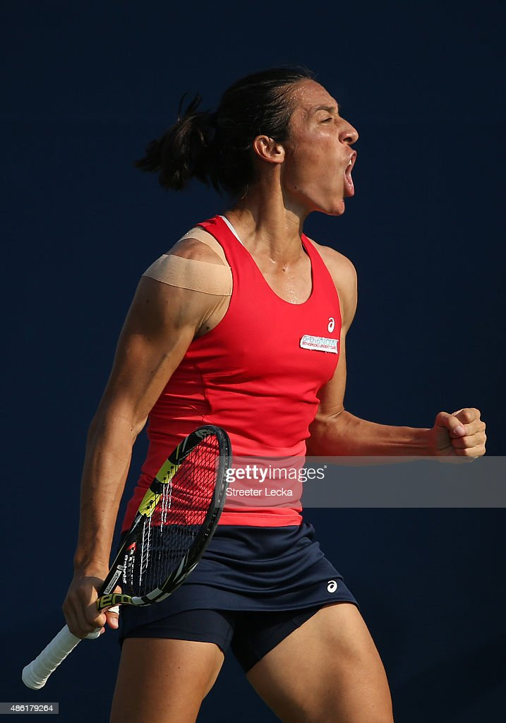 Francesca Schiavone of Italy reacts against Yanina Wickmayer of Belgium during their Women's Singles First Round match on Day Two of the 2015 US Open at the USTA Billie Jean King National Tennis Center on September 1, 2015 in the Flushing neighborhood of the Queens borough of New York City.