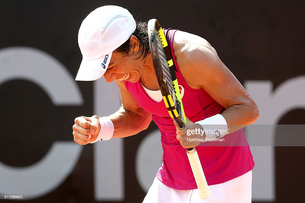 Francesca Schiavone of Italy reacts to a point while playing Cindy Burger of Netherlands during the Rio Open at Jockey Club Brasileiro on February 19, 2016 in Rio de Janeiro, Brazil.