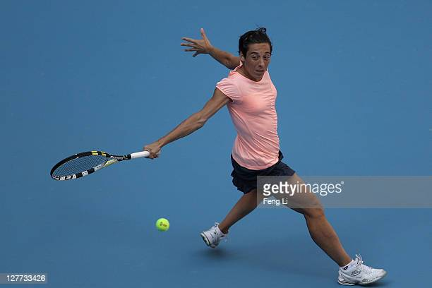 Francesca Schiavone of Italy returns a shot against Bojana Jovanovski of Serbia during day one of the 2011 China Open at the National Tennis Centre...