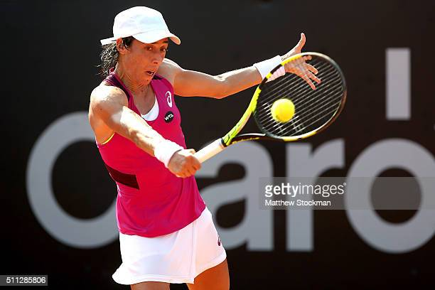 Francesca Schiavone of Italy returns a shot to Cindy Burger of Netherlands during the Rio Open at Jockey Club Brasileiro on February 19 2016 in Rio...