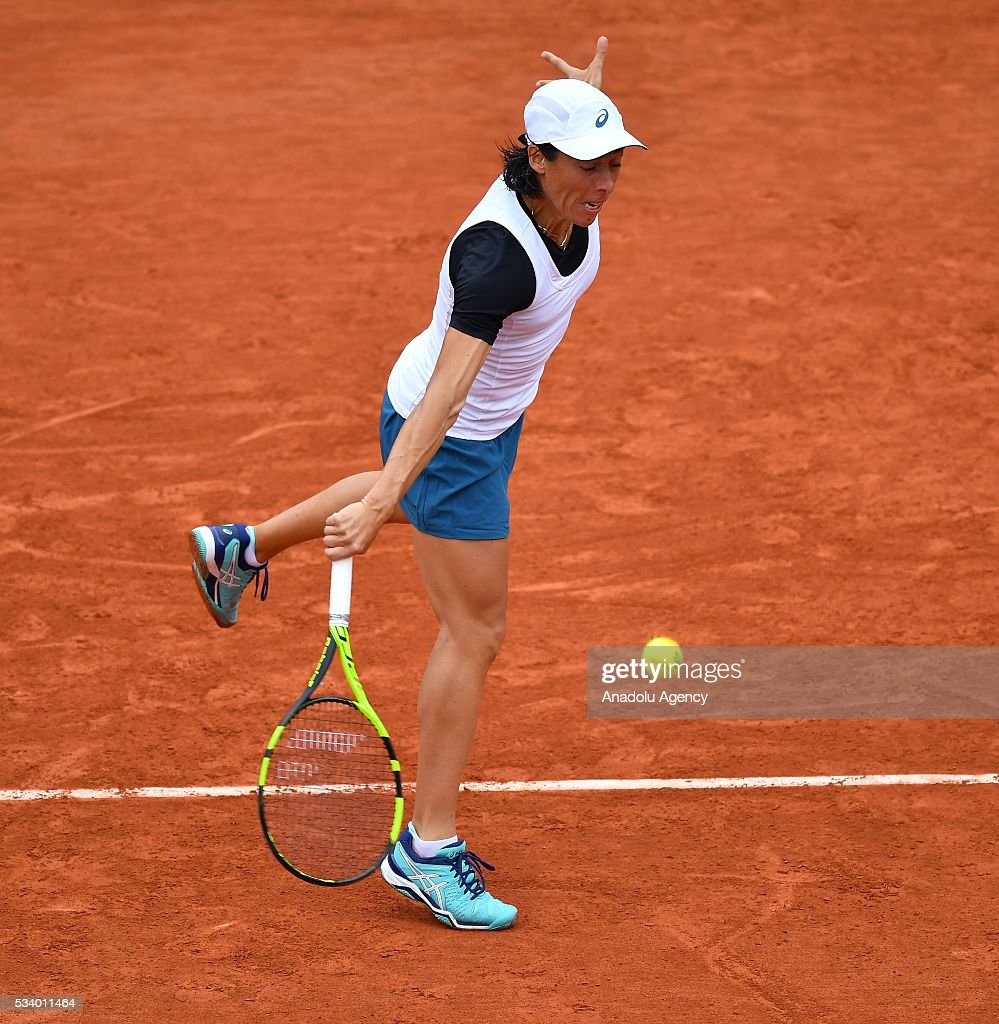 Francesca Schiavone of Italy returns the ball during women's single first round match at the French Open tennis tournament at Roland Garros in Paris, France on May 24, 2016.