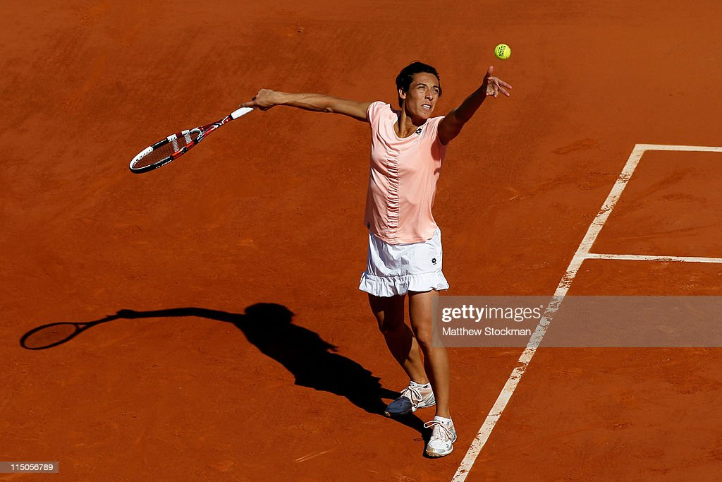 Francesca Schiavone of Italy serves during the women's singles semi final match between Marion Bartoli of France and Francesca Schiavone of Italy on day twelve of the French Open at Roland Garros on June 2, 2011 in Paris, France.