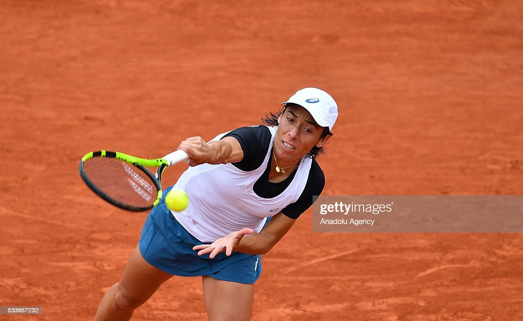 Francesca Schiavone of Italy serves the ball during women's single first round match at the French Open tennis tournament at Roland Garros in Paris, France on May 24, 2016.