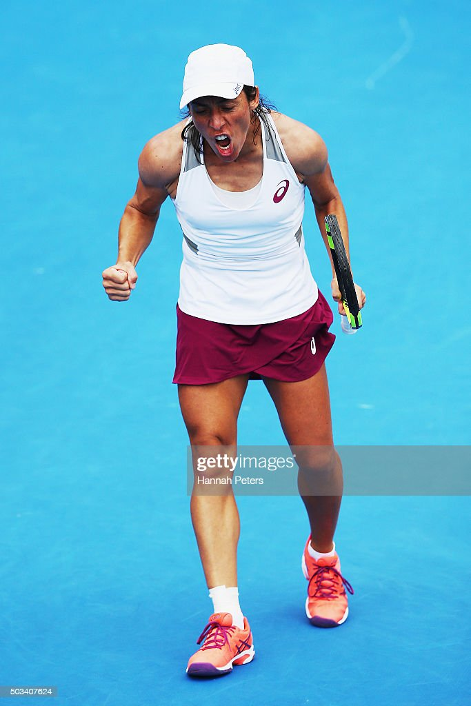 Francesca Schiavone of Italy shows her frustration during her first round match against Tamira Paszek of Austria during day two of the 2016 ASB Classic at the ASB Tennis Arena on January 5, 2016 in Auckland, New Zealand.