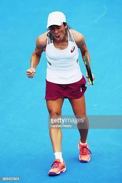 Francesca Schiavone of Italy shows her frustration during her first round match against Tamira Paszek of Austria during day two of the 2016 ASB...