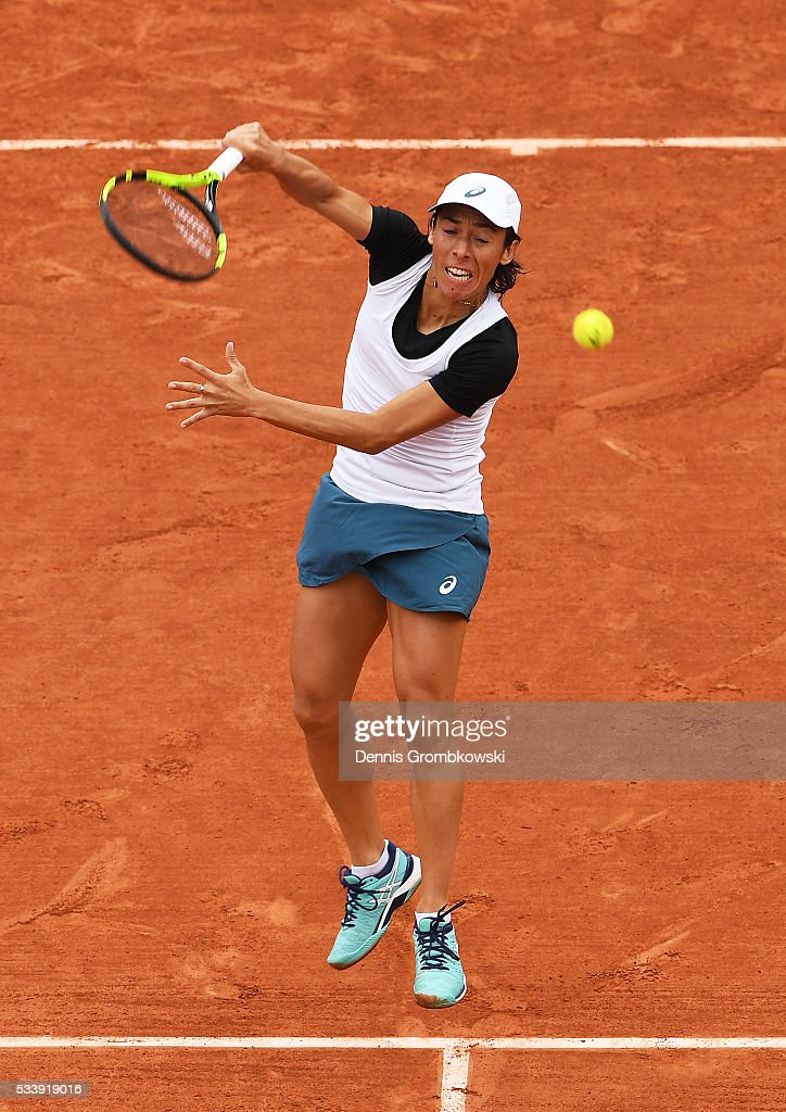 <a gi-track='captionPersonalityLinkClicked' href=/galleries/search?phrase=Francesca+Schiavone&family=editorial&specificpeople=171396 ng-click='$event.stopPropagation()'>Francesca Schiavone</a> of Italy smashes during the Ladies Singles first round match against Kristina Mladenovic of France on day three of the 2016 French Open at Roland Garros on May 24, 2016 in Paris, France.