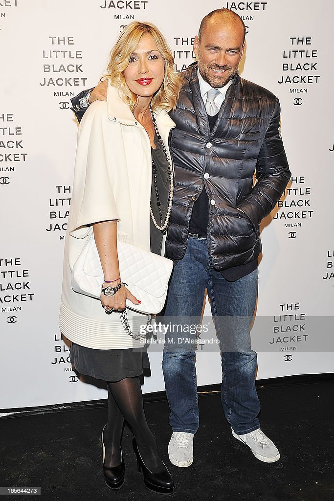 Francesca Senette and Marcello Forti attend Chanel The Little Black Jacket - Karl Lagerfeld Photography Exhibition Dinner Party on April 4, 2013 in Milan, Italy.