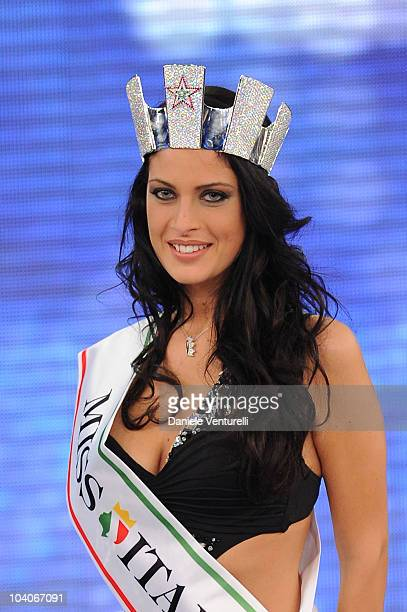 Francesca Testasecca attends the 2010 Miss Italia beauty pageant at the Palazzetto of Salsomaggiore on September 13 2010 in Salsomaggiore Terme near...