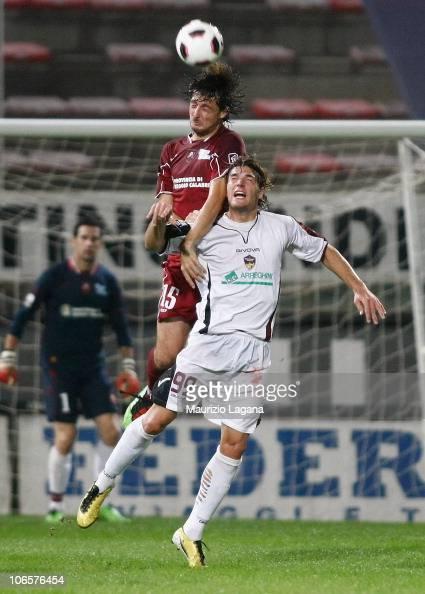 Francesco Acerbi of Reggina battles or the ball with Federico Gererdi of Portogruaro Summaga during the Serie B match between Reggina and Portogruaro...