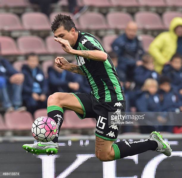 Francesco Acerbi of Sassulo in action during the Serie A match between US Sassuolo Calcio and SS Lazio at Mapei Stadium Citta del Tricolore on...
