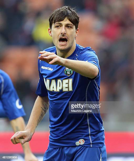 FRancesco Acerbi of Sassuolo during the Serie A match between AC Milan and US Sassuolo Calcio at Stadio Giuseppe Meazza on January 6 2015 in Milan...