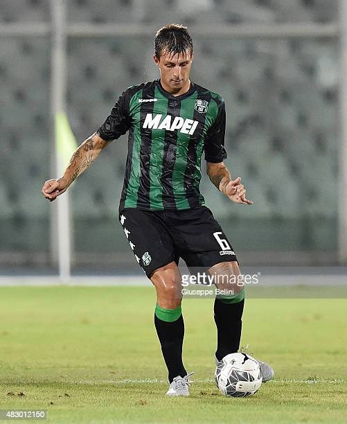 Francesco Acerbi of Sassuolo in action during the preseason friendly match between Pescara Calcio and US Sassuolo Calcio at Adriatico Stadium on...