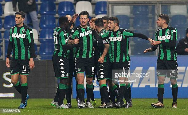 Francesco Acerbi of US Sassuolo Calcio celebrates his goal with his teammates during the Serie A match betweeen US Sassuolo Calcio and Torino FC at...