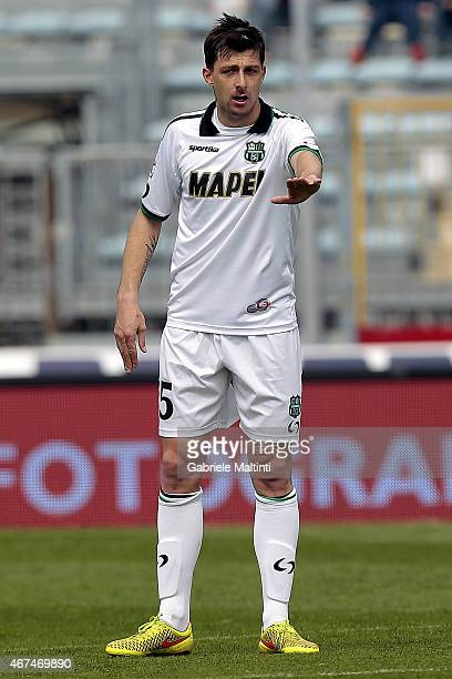 Francesco Acerbi of US Sassuolo Calcio gestures during the Serie A match between Empoli FC and US Sassuolo Calcio at Stadio Carlo Castellani on March...