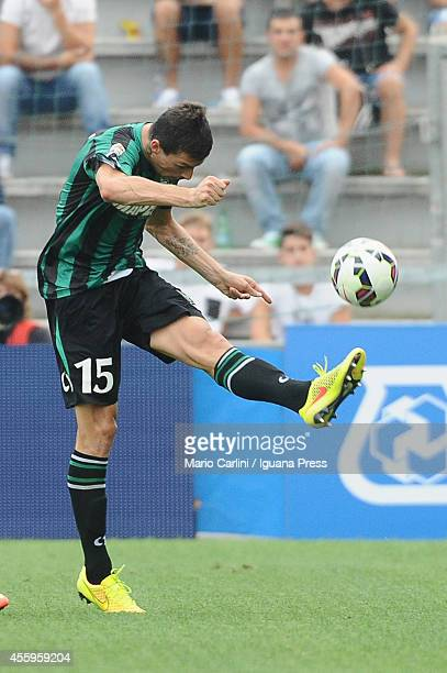 Francesco Acerbi of US Sassuolo Calcio in action during the Serie A match between US Sassuolo Calcio and UC Sampdoria on September 21 2014 in Reggio...