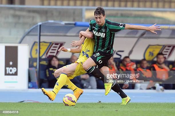 Francesco Acerbi of US Sassuolo Calcio in action during the Serie A match between AC Chievo Verona and US Sassuolo Calcio at Stadio Marc'Antonio...