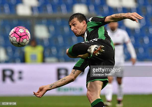 Francesco Acerbi of US Sassuolo Calcio in action during the Serie A match between US Sassuolo Calcio and Genoa CFC at Mapei Stadium Citta del...